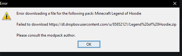 Modpack legend of hoodie wont download - Tekkit Legends